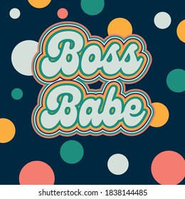 Retro 70s style vintage Boss Babe business woman graphic card poster, with polka dots