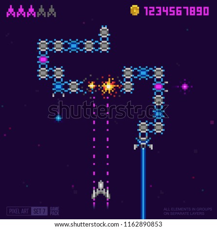 retro 8 bit game space snake stock vector royalty free 1162890853
