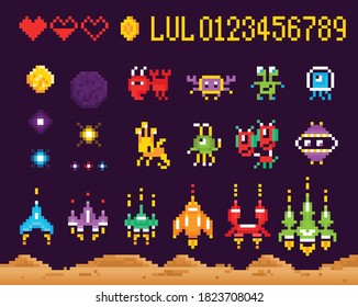 Retro 8 bit pixel arcade computer game set of isolated icons with characters of monsters spacecrafts vector illustration