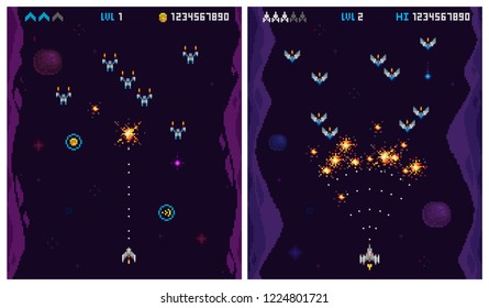 Retro 8 bit Pixelated arcade Ufo invaders gameplay, space ships, explosion, rockets. Pixel video game elements collection. 8 bit computer game template vector illustration