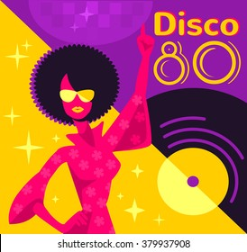 Retro 80s disco poster. Vector flat illustration