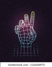 Retro 80s futuristic deep space design. Human hand stretching up out of laser grid