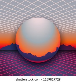 Retro 80s futuristic design. Sunset, mountains on the horizon and chrome globe between laser grids at front