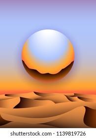 Retro 80s futuristic landscape design. Chrome globe over desert