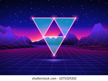 Retro 80s hipster styled futuristic landscape with neon triangles and shiny grid for party poster, flyer or mix cover