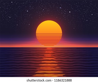 Retro 80s illustration. Sunset over big water