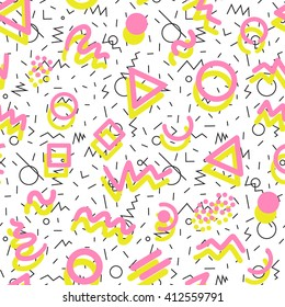 Retro 80s memphis fashion style seamless geometrical abstract pattern illustration background.