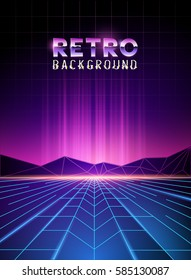 retro 80's neon digital landscape with light beams. Vector illustration