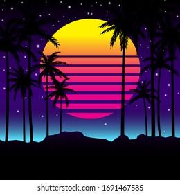 Retro 80s palms style with graphic background Premium Vector