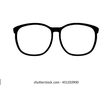 Retro 80s style glasses frames outline vector.