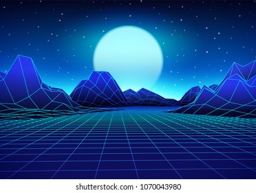 Retro 80s styled futuristic landscape with blue neon sun or moon in digital space and shiny grid for 80s revival retro rave party poster, flyer or mix cover