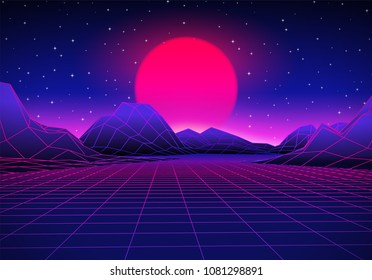Retro 80s styled futuristic landscape with purple neon sun or moon in digital space and shiny grid for party poster, flyer or mix cover