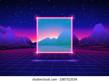 Retro 80s styled futuristic landscape with neon square and shiny computer grid for party poster, flyer or mix cover