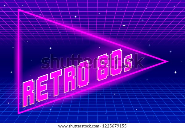 Retro 80s Triangle and Grid Background. EPS10 Vector With Transparency