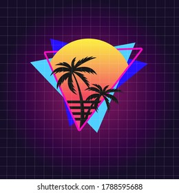 Retro 80's Vector Illustration for T-shirt with Palms and Sunset