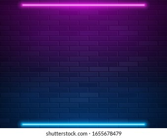 Retro Abstract Blue And Purple Neon Lights On Black Brick Wall With Empty Space For Text. Vector Illustration. Abstract Futuristic Neon Glowing Background