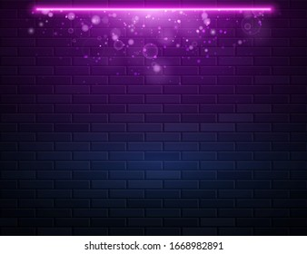 Retro Abstract Blue And Purple Neon Lights On Black Brick Wall With Glitter Glow Sparkling. Vector Illustration. Abstract Futuristic Neon Glowing Background
