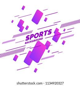 Retro abstract geometric background. Sports poster with the flat figures. Vector illustration.
