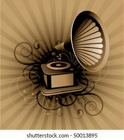 Retro abstract with gramophone on a striped background