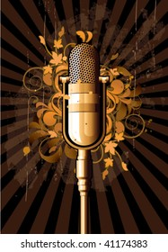 Retro abstract with microphone on a dark floral background