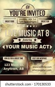 Retro abstract party invitation flyer