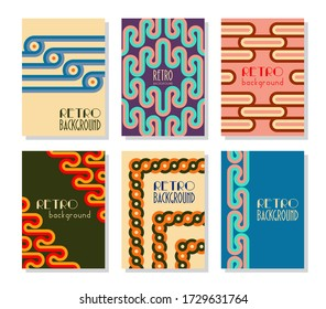 Retro abstract posters set. Backgrounds with round geometric shapes and stripes. Vector illustration.