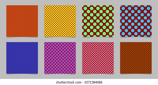 Retro abstract seamless polka dot background pattern template set - squared vector collection from colored circles