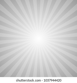Retro abstract sun ray background - grey vector graphic design with radial rays
