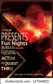 Retro Abstract triangle design light effect club flyer
