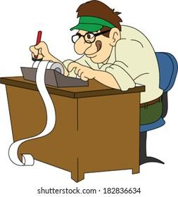 Retro Accountant with Green Visor at Desk