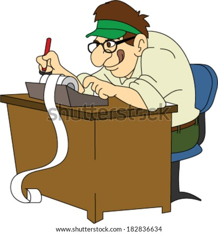 1fff4886 Royalty-free stock vector images ID: 182836634. Retro Accountant with Green  Visor at Desk - Vector