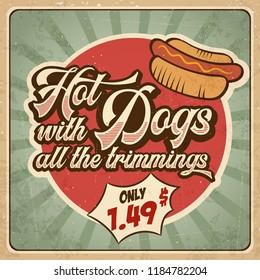 Retro advertising restaurant sign for hot dogs. Vintage poster, vector eps10