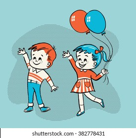 Retro advertising style vector line illustration of little boy and girl children waving and holding balloons
