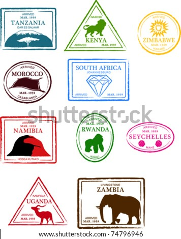 Retro African Set Of Fun Country Passport Stamps Vector Illustration