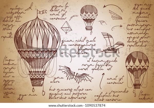 Ретро воздушные шары ручной работы эскизы. Старинные гравюры плакат. Летающие изобретения. Ранние летательные аппараты.