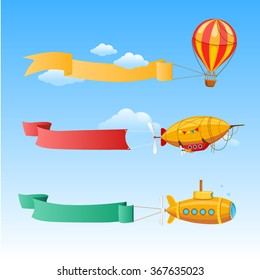 Retro Aircraft with Long Banners for Text on a Background of Sky. vector Illustration