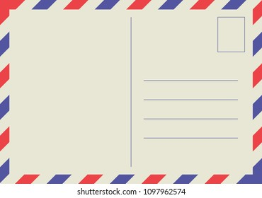 Retro airmail envelope on beige
