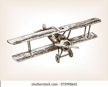 Retro airplane sketch style vector illustration. Old engraving imitation. Retro airplane hand drawn sketch imitation.