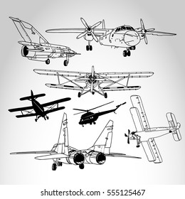 Retro airplanes and helicopters set isolated