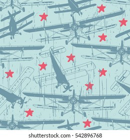 Retro airplanes with stars. Vector seamless pattern