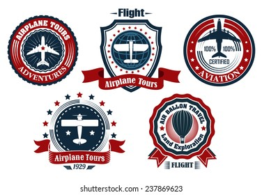 Retro airplanes tours, aviation and air balloon travel emblems, labels with airplane, hot air balloon and text on banner ribbon or frame in red, blue and white colours
