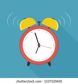 Retro alarm clock. Flat design . Vector Illustration