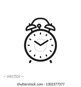 retro alarm clock icon, time linear sign on white background - vector illustration eps10