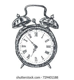 Retro alarm clock illustration, vector format. Vintage Victorian Era Engraving style retro lineart Hand drawn