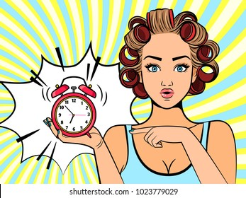Retro alarmed girl. Beautiful pop art woman character looking at clock with hair curlers and mouth lipstick vector illustration