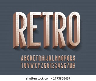 Retro alphabet font. 3D vintage letters and numbers with shadow. Vector typescript for your typography design.