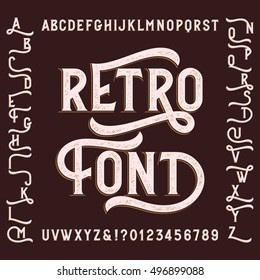 Retro alphabet font with alternates. Letters, numbers and symbols. Vintage vector typeface for your design.