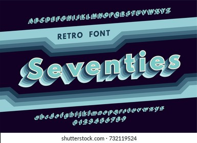 Retro alphabet with a harsh color gradation effects. Blue font from 70's. vector illustration