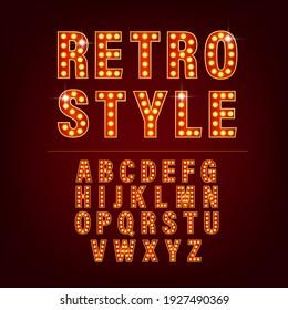 Retro alphabet with retro letter light on golden background. Number font. Vector 3d. Creative vector font.