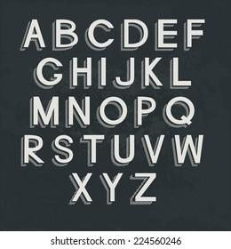 Retro alphabet on blackboard. Vector letters, EPS 8.